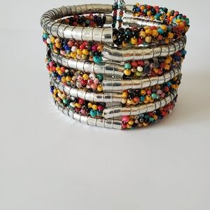 Multi-Colored Seed Bead and Silver Cuff Bracelet